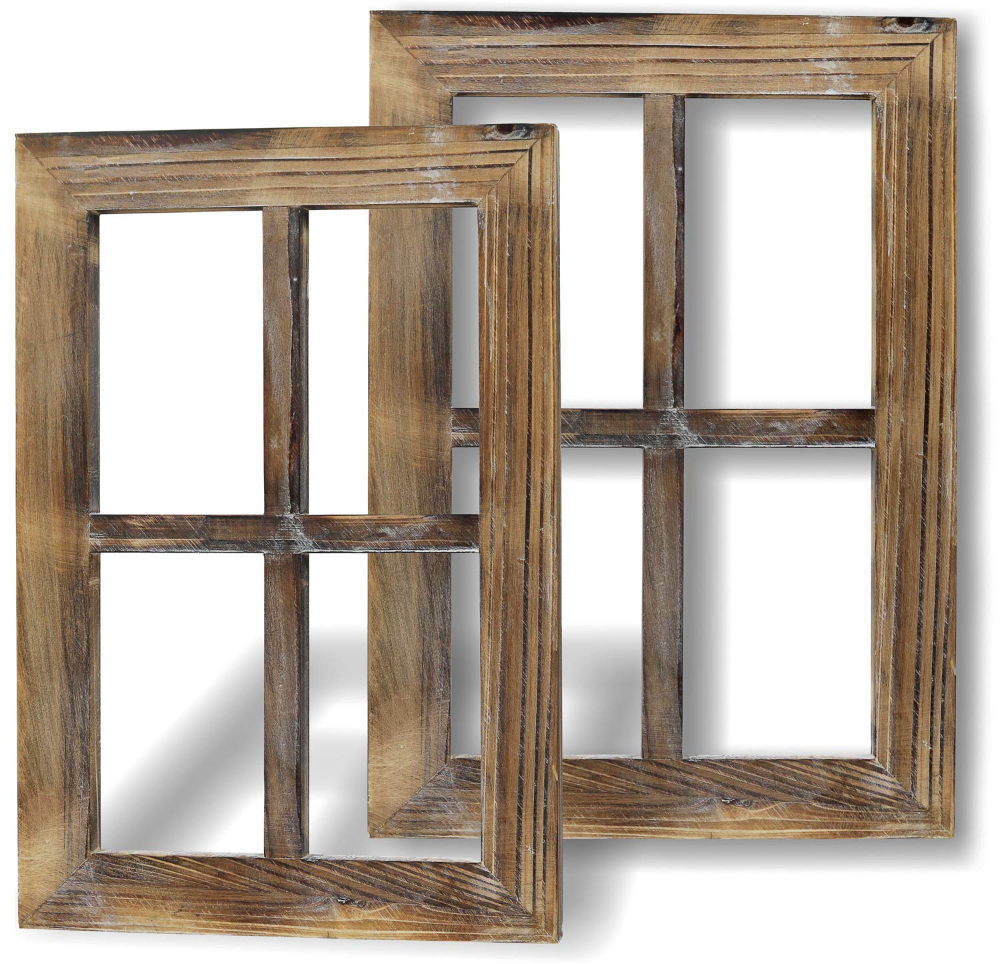 Greenco Wooden Rustic Wall Mount Window Frames Vintage Country Farmhouse Wall Decor Set Of 2 Walmart Com Arched Wall Decor Window Frame Decor Window Wall Decor