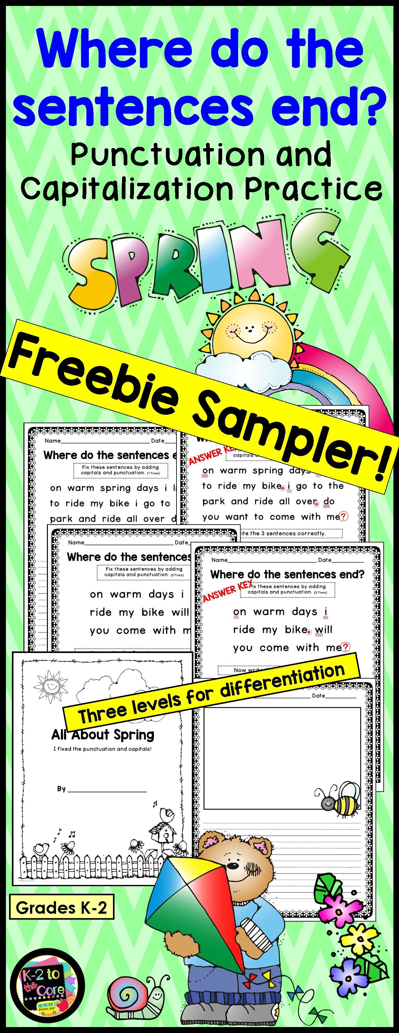 Spring Punctuation And Capitalization Where Do The Sentences End Free Sampler