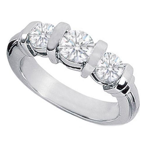 1 10 Carat Three Stone Round Diamond Bar Set Engagement Ring