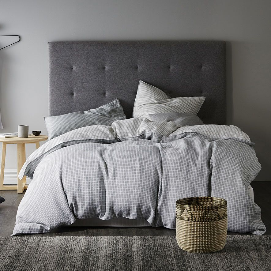 Home Republic - Vintage Washed Quilt Cover Silver Grid - Bedroom ... : vintage washed linen quilt cover - Adamdwight.com