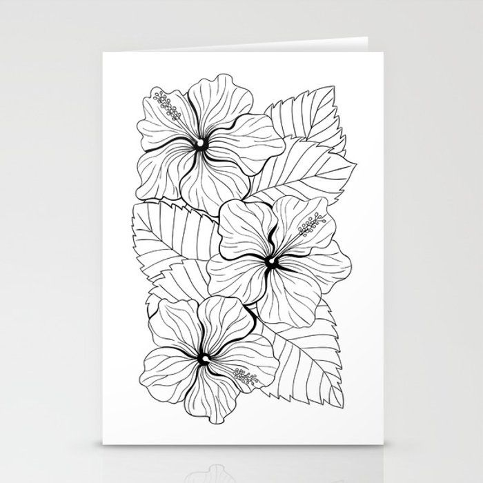 Tropical bouquet of hibiscus with leaves Stationery Cards by katerinamitkova
