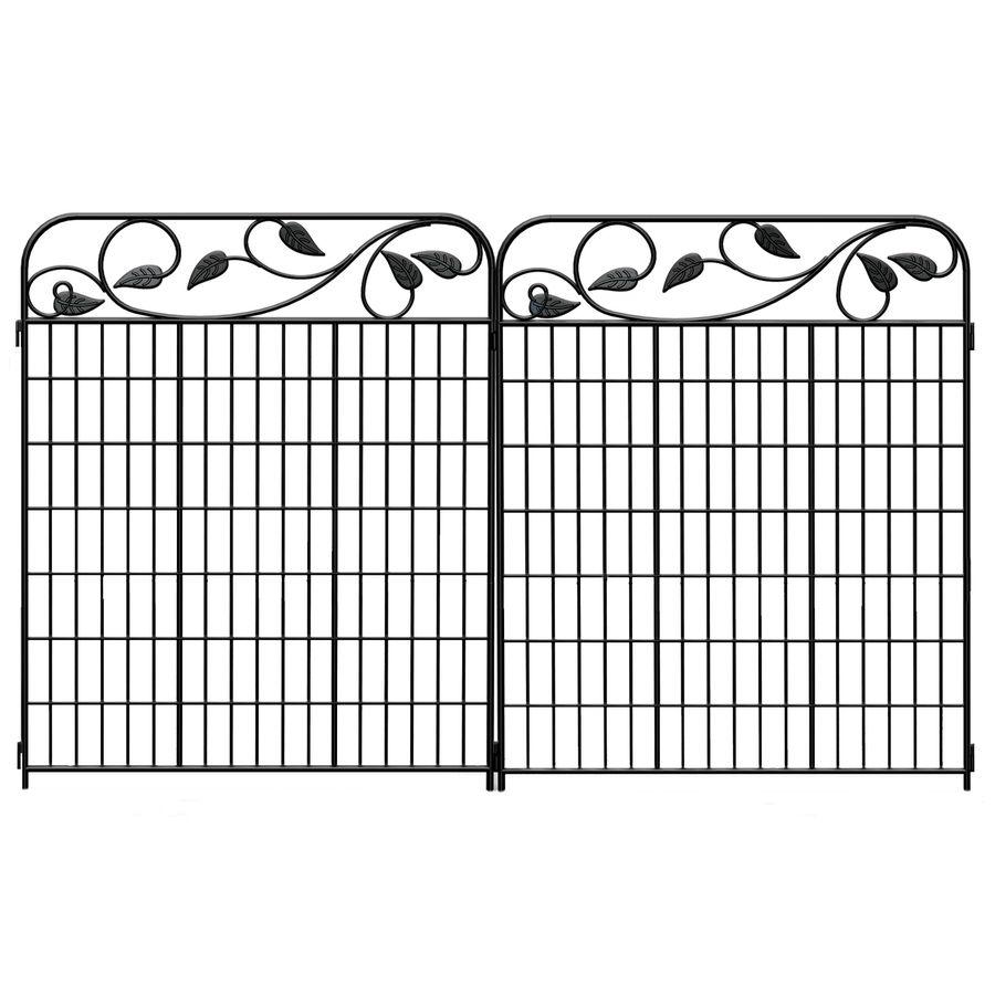 No Dig 2-Pack Black/Powder-Coated Steel Decorative Fence Panel ...