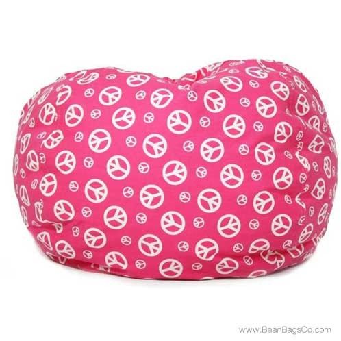 Comfort Research   Classic Bean Bag Pink W/White Peace Symbols | ON SALE: