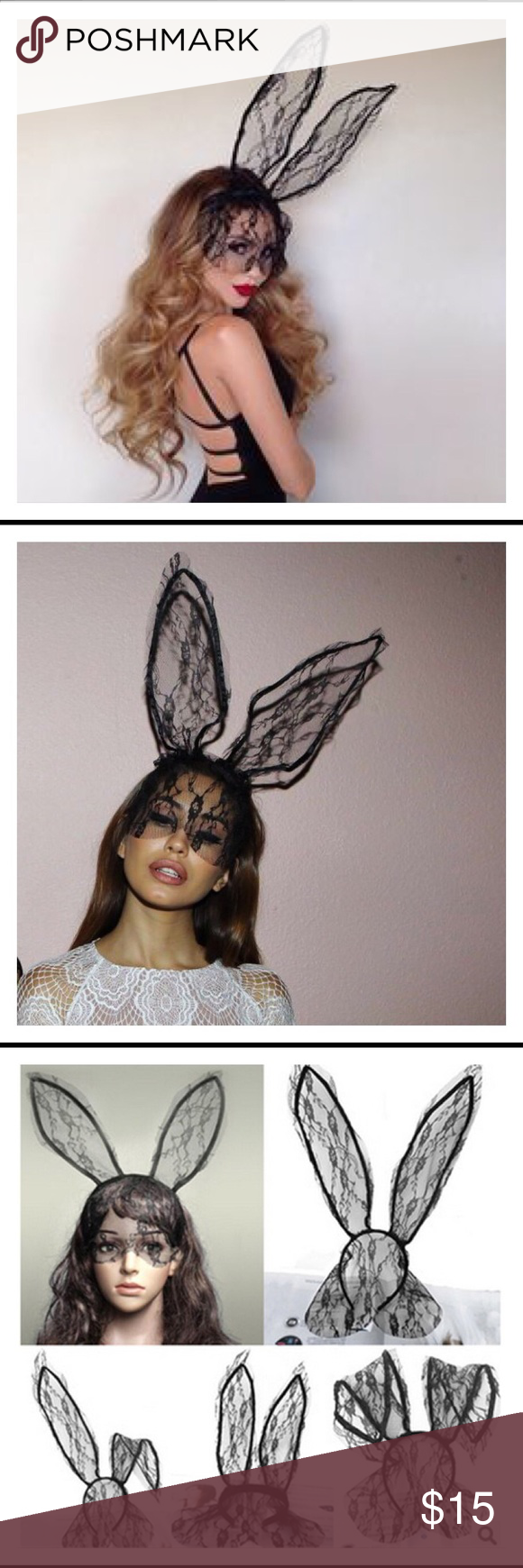 Lace Veiled Bunny Ears Headband in Black Inspired by Ariana Grande, this sexy look creates a sultry allure in or out of the bedroom! New in Packaging Other