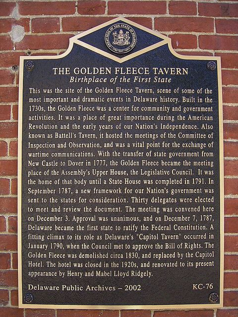 """The Golden Fleece Tavern"" Historic Marker. The Delaware Public Archives operates a historical markers program as part of its mandate. Markers are placed at historically significant locations and sites across the state. To view all the Historic Marker photographs please visit http://archives.delaware.gov/markers/markers-search.shtml"