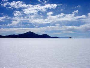 Salt flats in Bolivia (Bonneville Salt Flats in Utah would probably suffice)