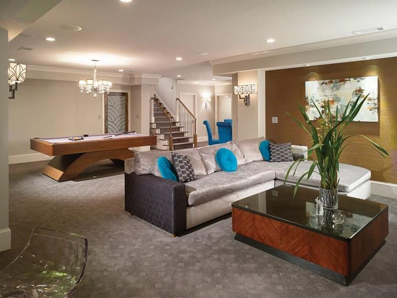 22 Finished Basement Contemporary Design Ideas Finished Basement