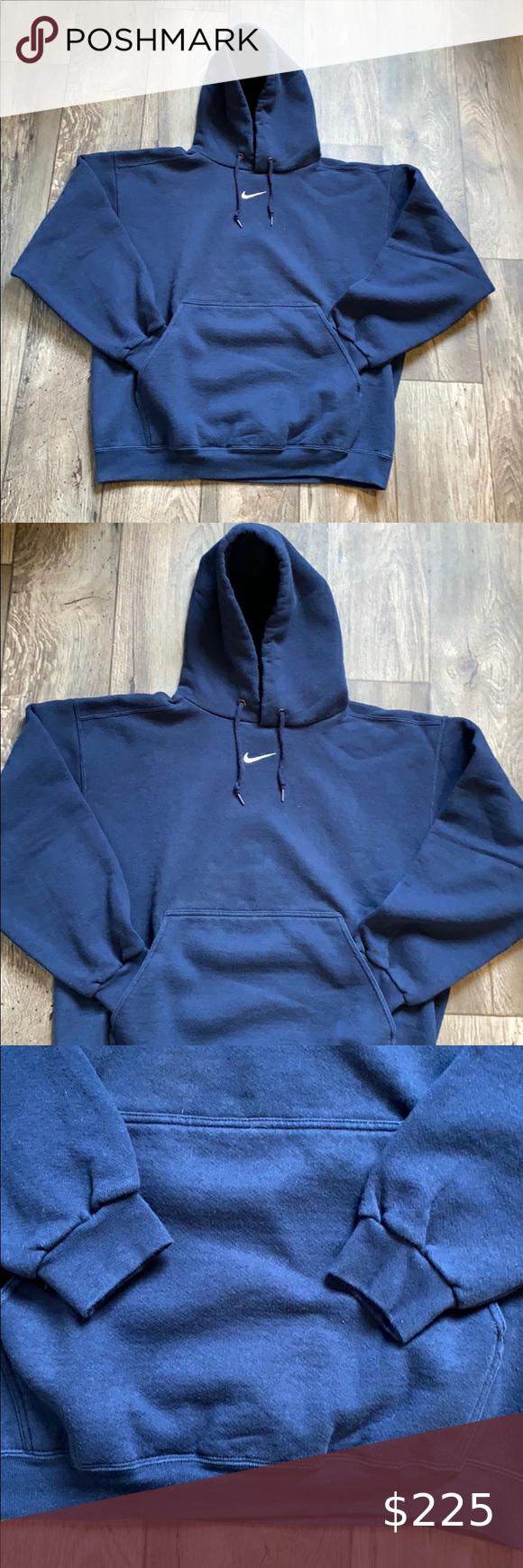 Vintage 90s Nike Middle Swoosh Hoodie Very Rare Navy Blue White Tag Vintage 90s Made In Usa Nike Middl In 2020 Sweatshirt Shirt Travis Scott Hoodie Sweatshirts Hoodie