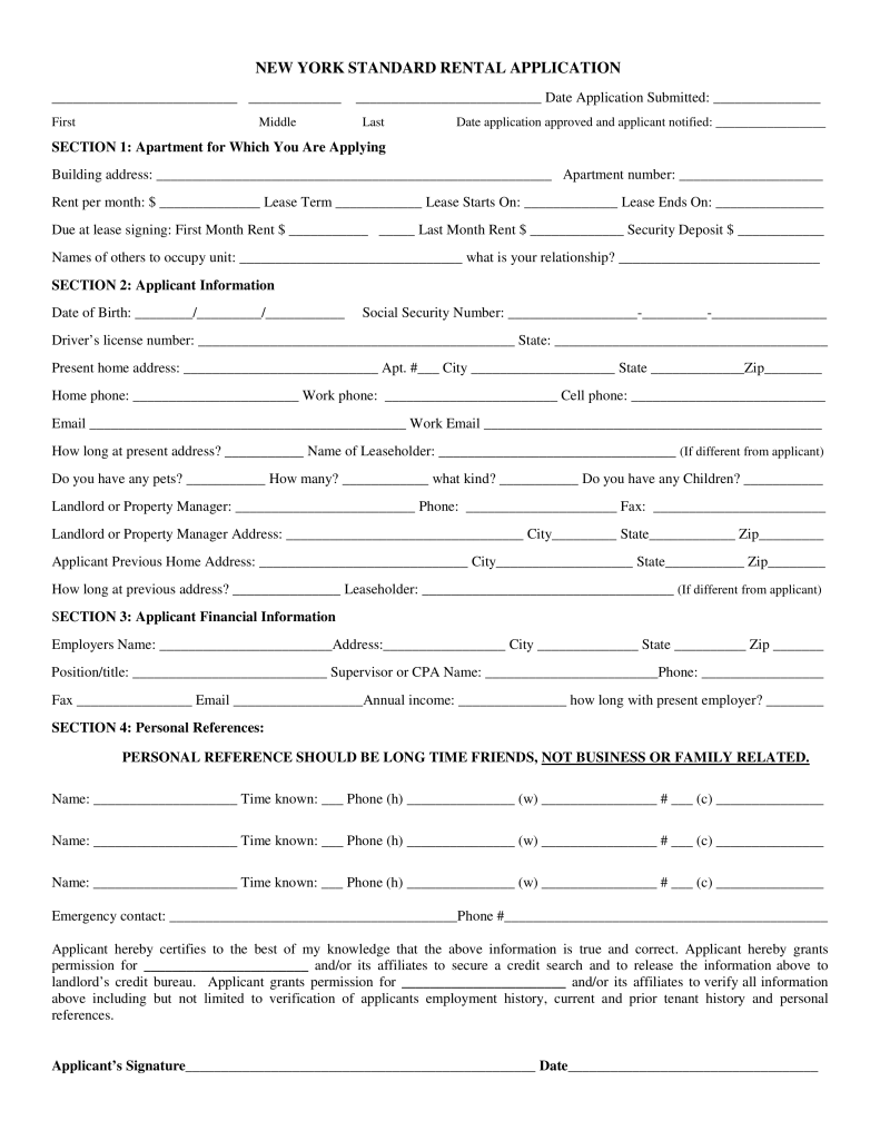 Free New York Rental Application Form PDF eForms