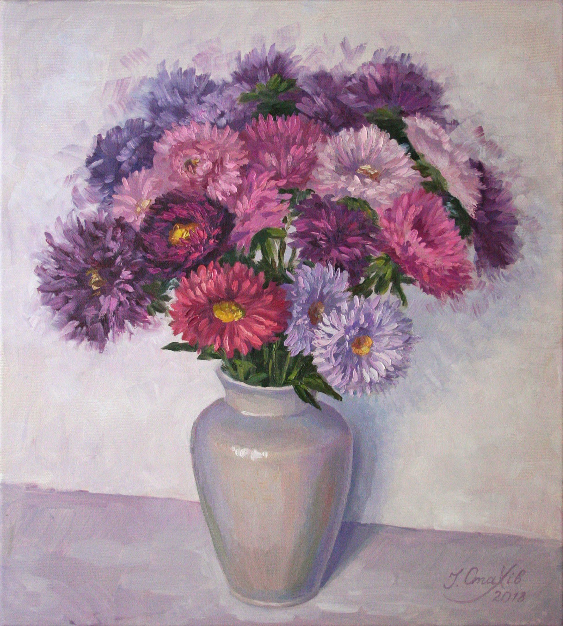 Oil Painting Flowers Bouquet Wall Art Aster Still Life Floral Decor Purple Painting On Canvas Original Artwork Flower Painting Purple Painting Oil Painting Flowers