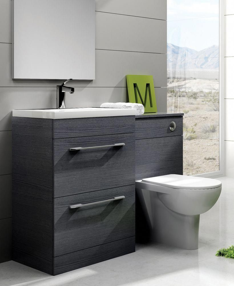 Carla Grey Slimline 60cm Combination Unit 2 Drawer 1215mm With Toilet Bathroomfurnituresteel Toilet Sink Unit Toilet Vanity Unit Small Bathroom Furniture