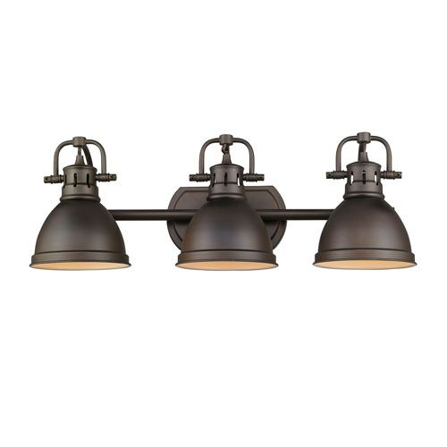 golden lighting duncan rubbed bronze three light vanity fixture rh pinterest com Bronze Light Fixtures for Over Medicine Cabinet Decorating with Blue Bathroom Fixtures