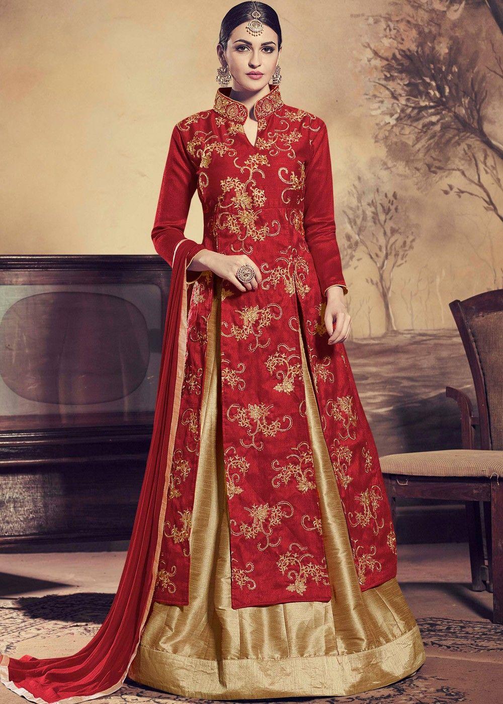 719449da891d3  Maroon Kurti Style Art  Silk  Lehenga  Choli with  Dupatta