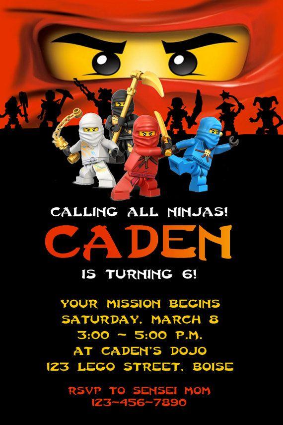 Lego Ninjago Ninja Birthday Party Invitation By