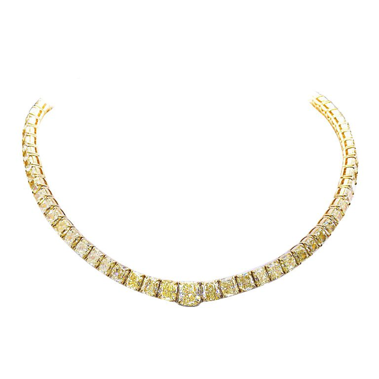 Yellow Cushion Diamond Necklace | From a unique collection of vintage more necklaces at https://www.1stdibs.com/jewelry/necklaces/more-necklaces/