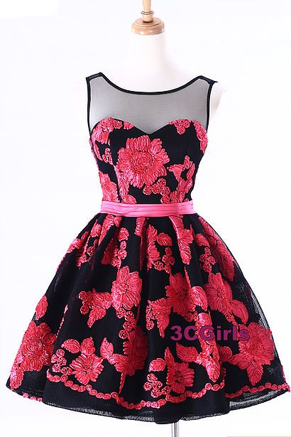 Tulle prom dress, homecoming dress, cute red and black tulle short ...
