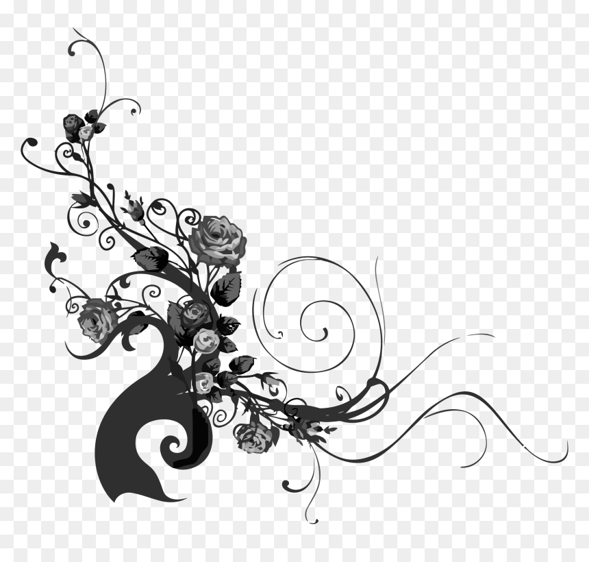 Rose With Vines Silhouette Png Transparent Png Thorn Vine Png Silhouette Png Rose Thorn Tattoo Clip Art Library