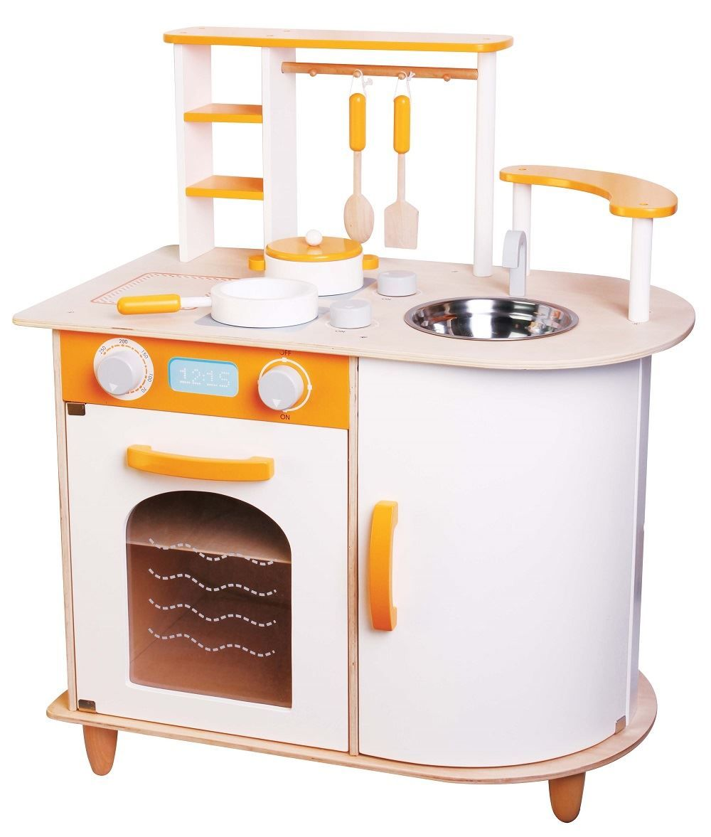 Lelin Wooden Childrens Pretend Play Saffron Kitchen Cooking Oven Toy In Toys Pre School Young Children Ebay