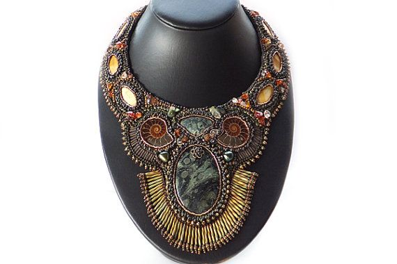 The Nautilus Bead Embroidered Necklace by BobbiePeneJewelry, $490.00