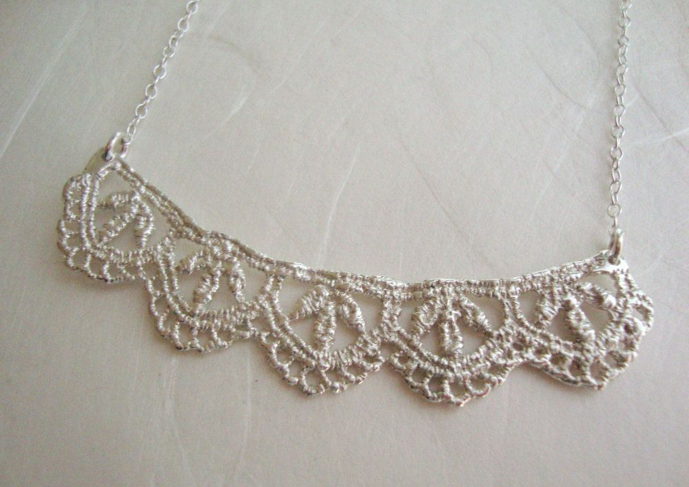 Leaf  Lace necklace in sterling silver. $110.00, via Etsy.