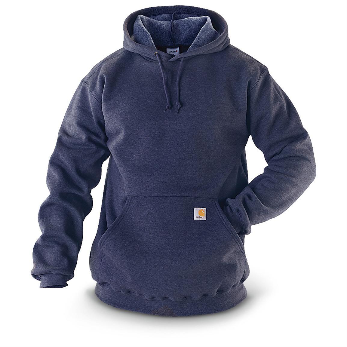 Carhartt Men S Midweight Hooded Pullover Sweatshirt Navy Carhartt Jacket Mens Fashion Rugged Sweatshirts [ 1154 x 1154 Pixel ]