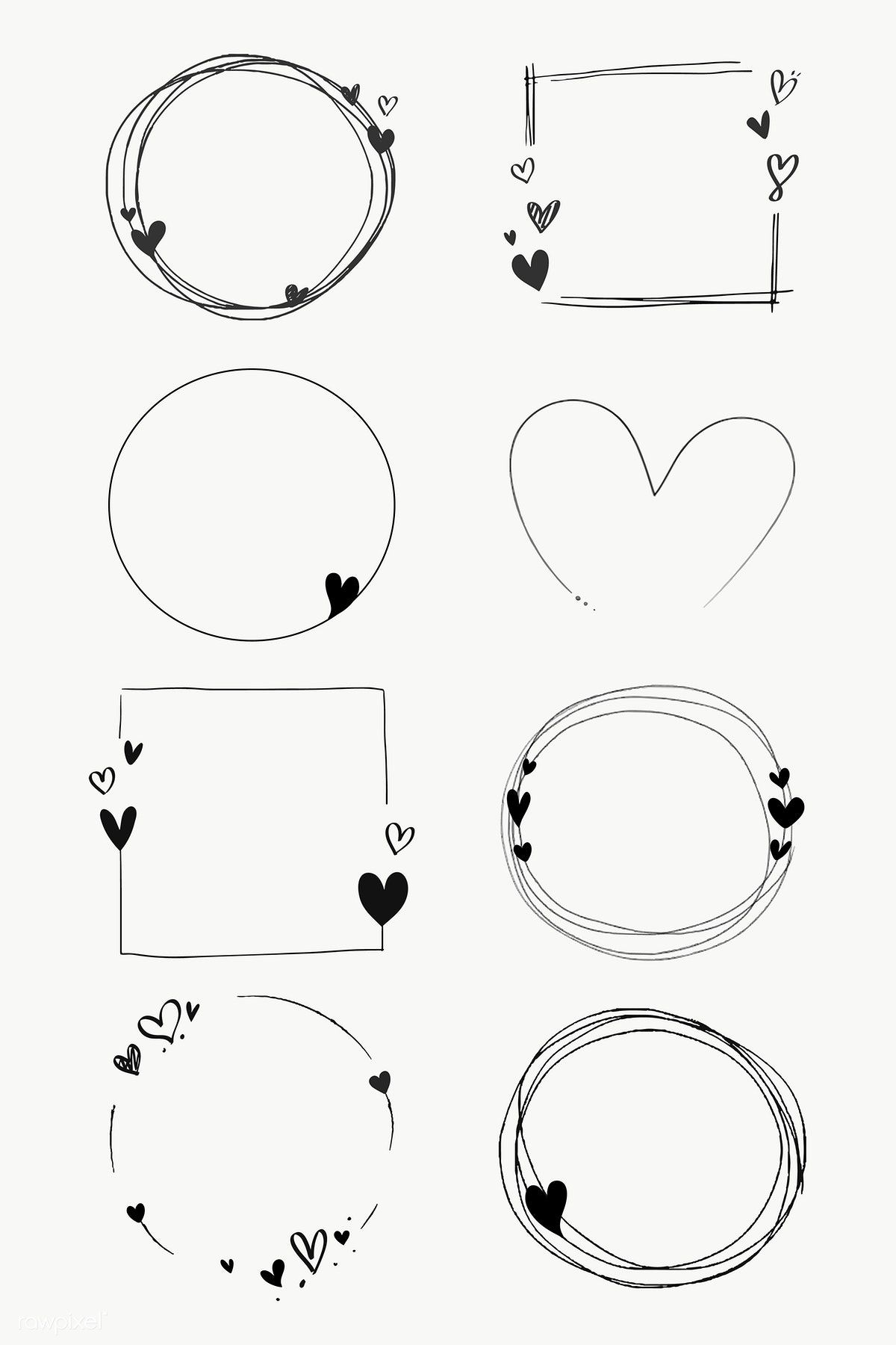Download premium png of Doodle love frame collection transparent png