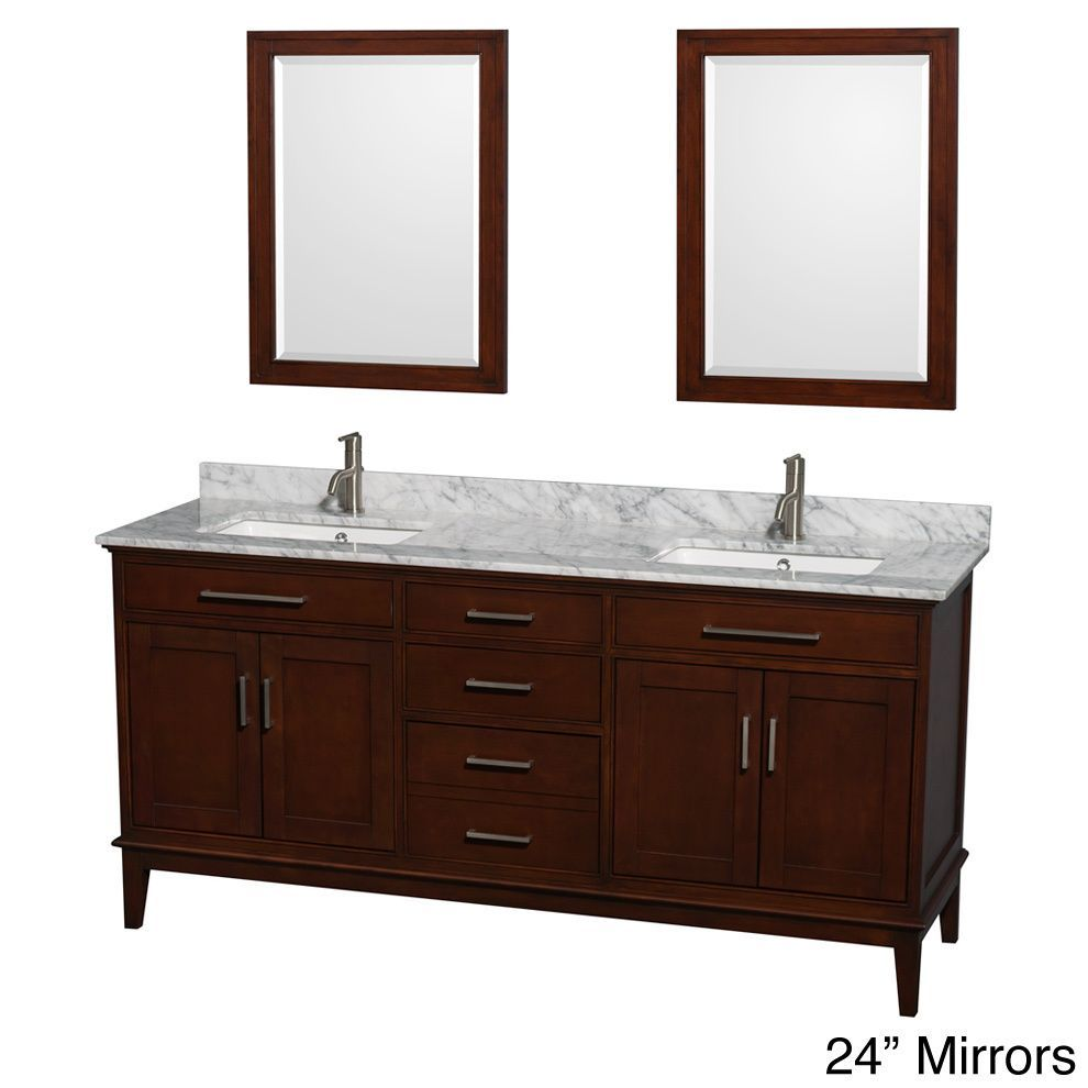 Add rich style to your master bathroom with this double square sink Hatton vanity. With 72 inches of counter space, this large vanity also features multiple doors, drawers and shelves to provide plentiful storage options.