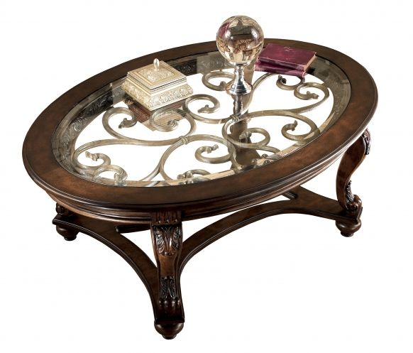 Norcastle Traditional Dark Brown Wood Glass Oval Coffee Table Set
