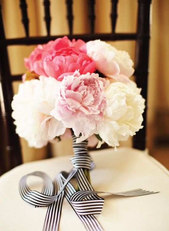 Peony bridal bouquet with stripes peony bridal bouquets peony and a pink peony bouquet easy enough to make yourself loooove the blackwhite striped ribbon solutioingenieria