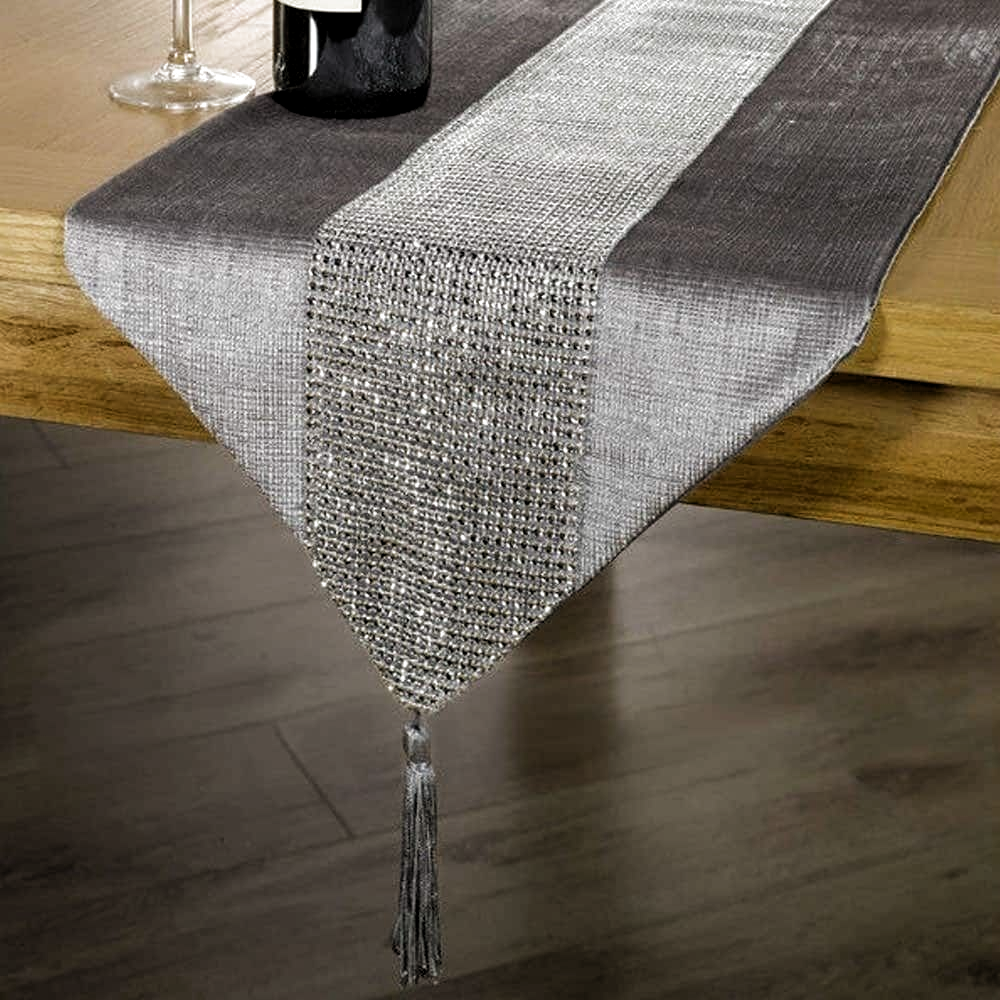 Tassel Table Runner Rhinestone European Dinner 12 X 72 Silver Polyester In 2020 Dinner Tables Furniture Table Runners Linen Table Runner