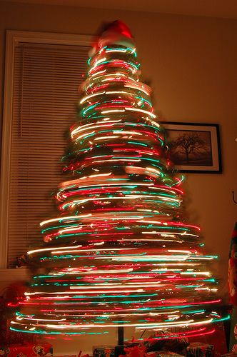 photography special effects with a christmas tree
