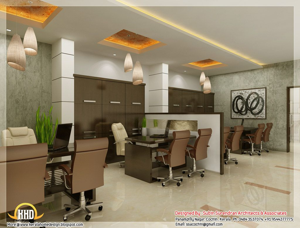 Beautiful 3D Interior Office Designs   Kerala Home Design ..., 1024x778 In  174.5KB