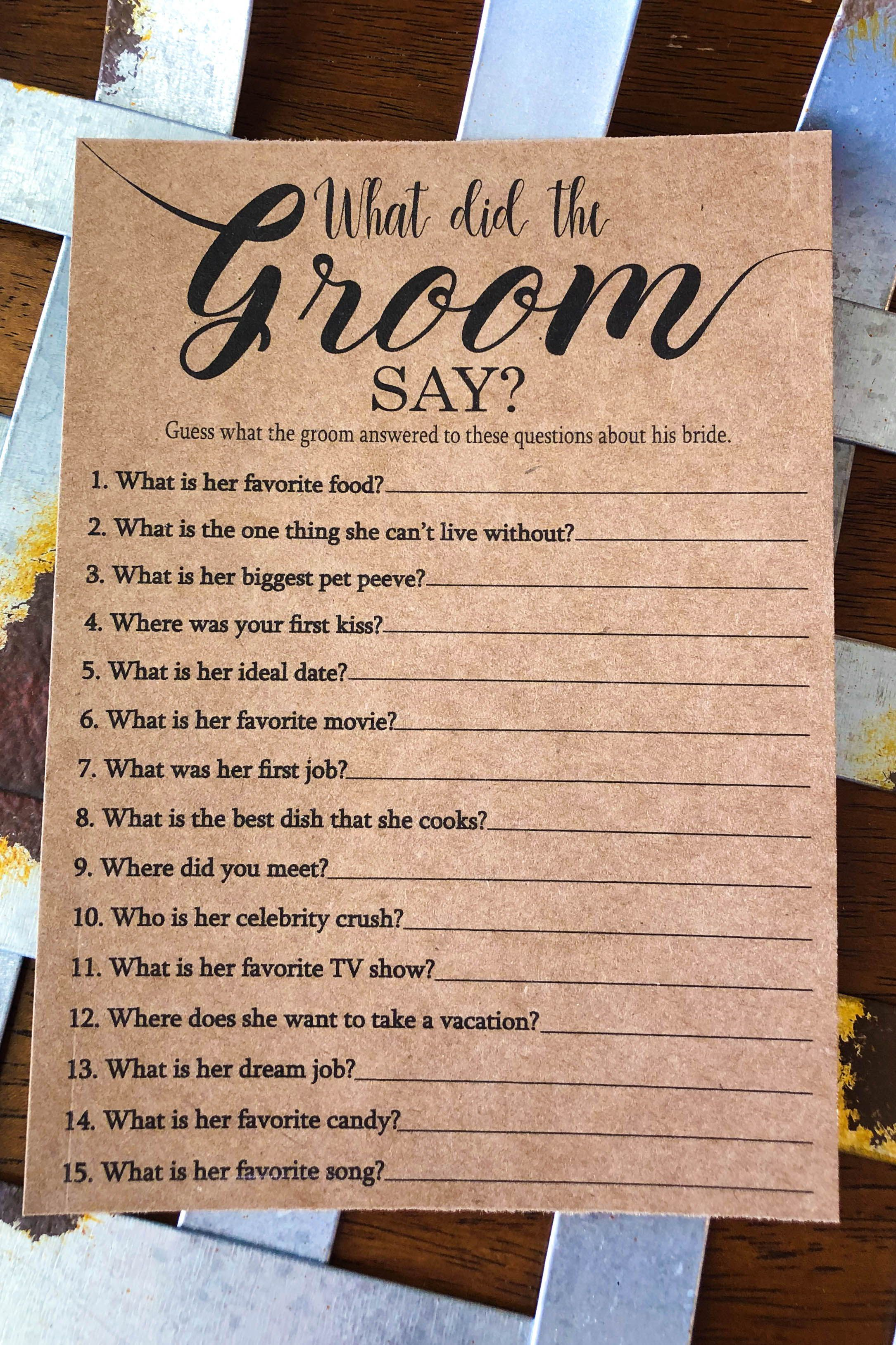 What did the groom say about his bride bridal shower games bridal shower game idea bridal shower bridal shower ideas What did the groom say