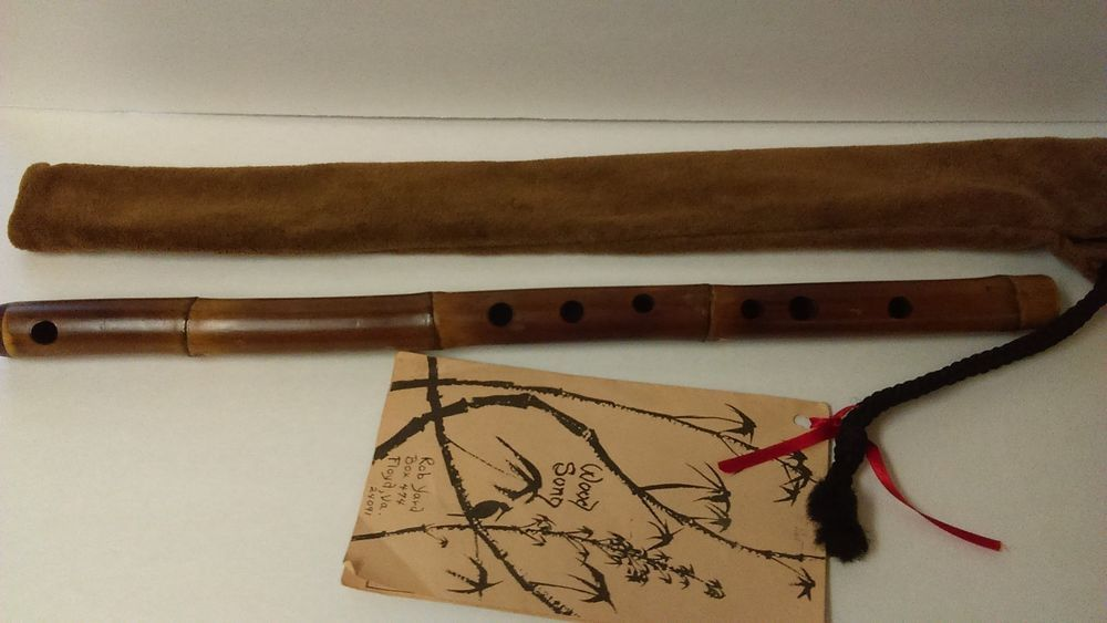 """Vintage Handcrafted Bamboo Flute Rob Yard """"Wood Song"""" & Music Pamphlet"""