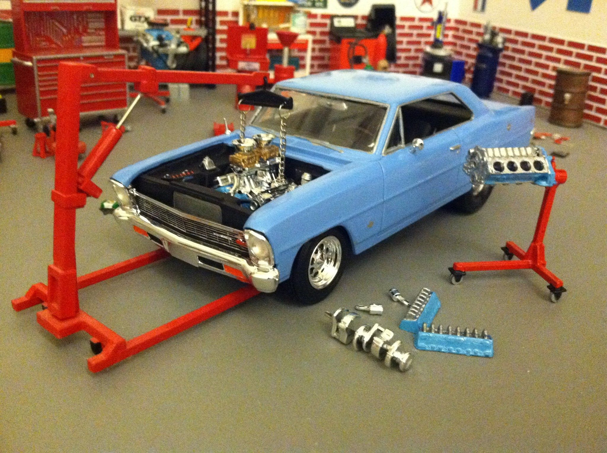 Amt Chevy Nova This Kit Includes The Engine Block And Stand To Right