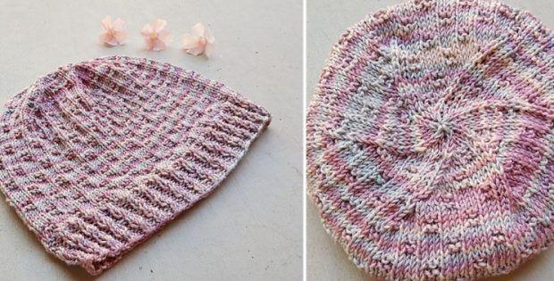 Knitted Chemo Cap With Swirls [FREE Knitting Pattern ...