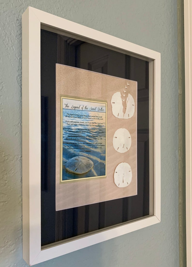 Legend Of The Sand Dollar Poem Shadowbox Wall Art 11x14 Beach Etsy In 2020 Sand Dollar Art Coastal Wall Art Starfish Wall Art