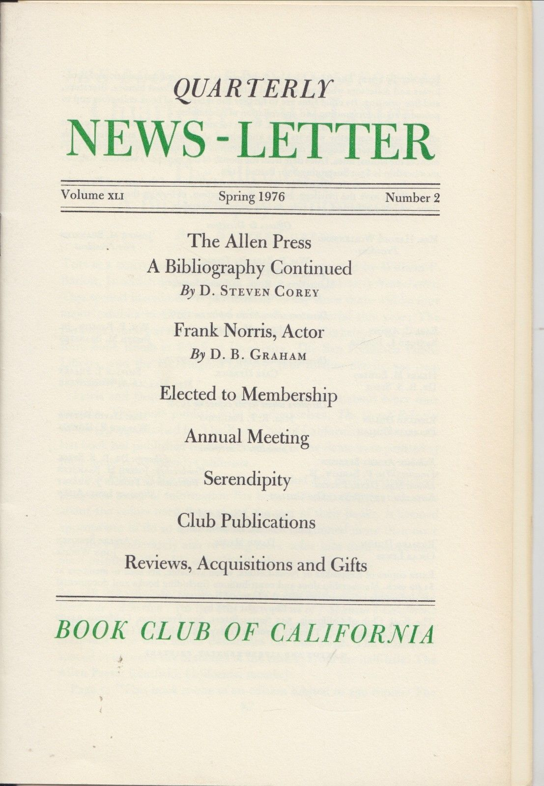 Book Club of California Quarterly News Allen Press Bibliog Fine