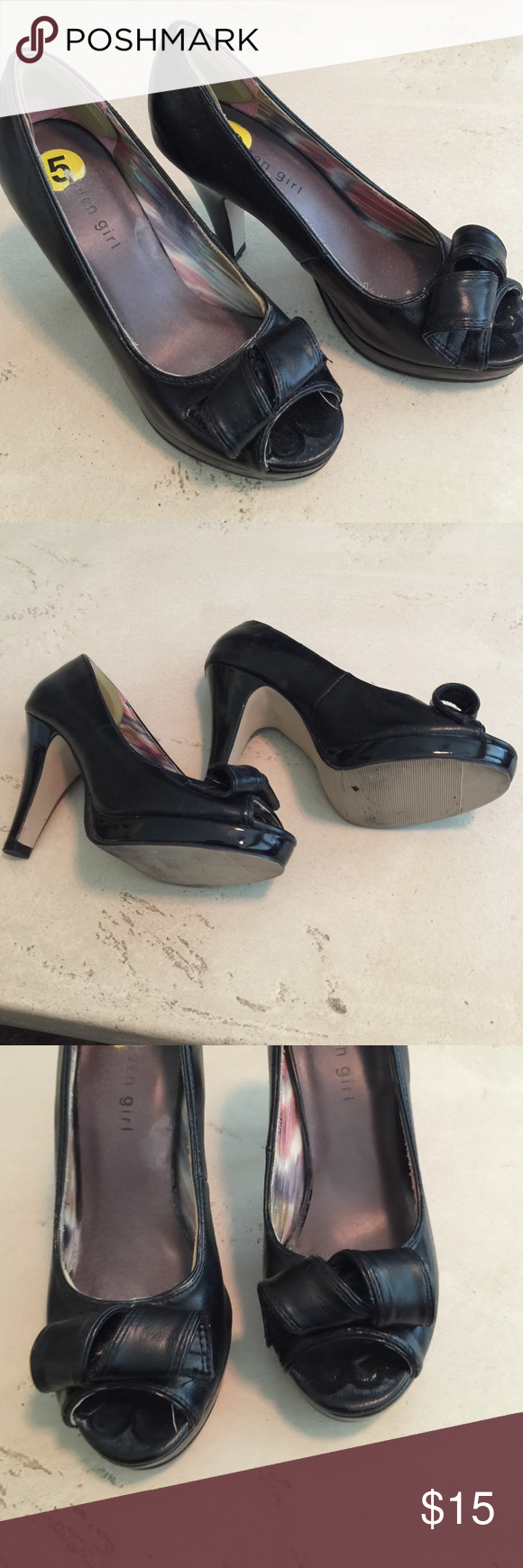 Madden Girl black heals, size 5 Madden Girl black heals, size 5. Good used condition. Leather shoe, black patten leather heals Madden Girl Shoes Heels