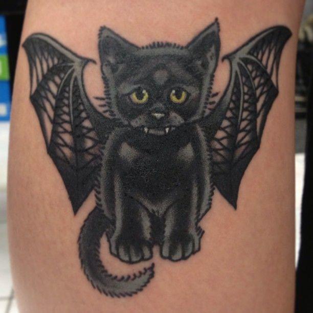 Cat Bat Tattoo Cat With Bat Wings Tattoo Design Bat Tattoo Bats Tattoo Design Tattoos