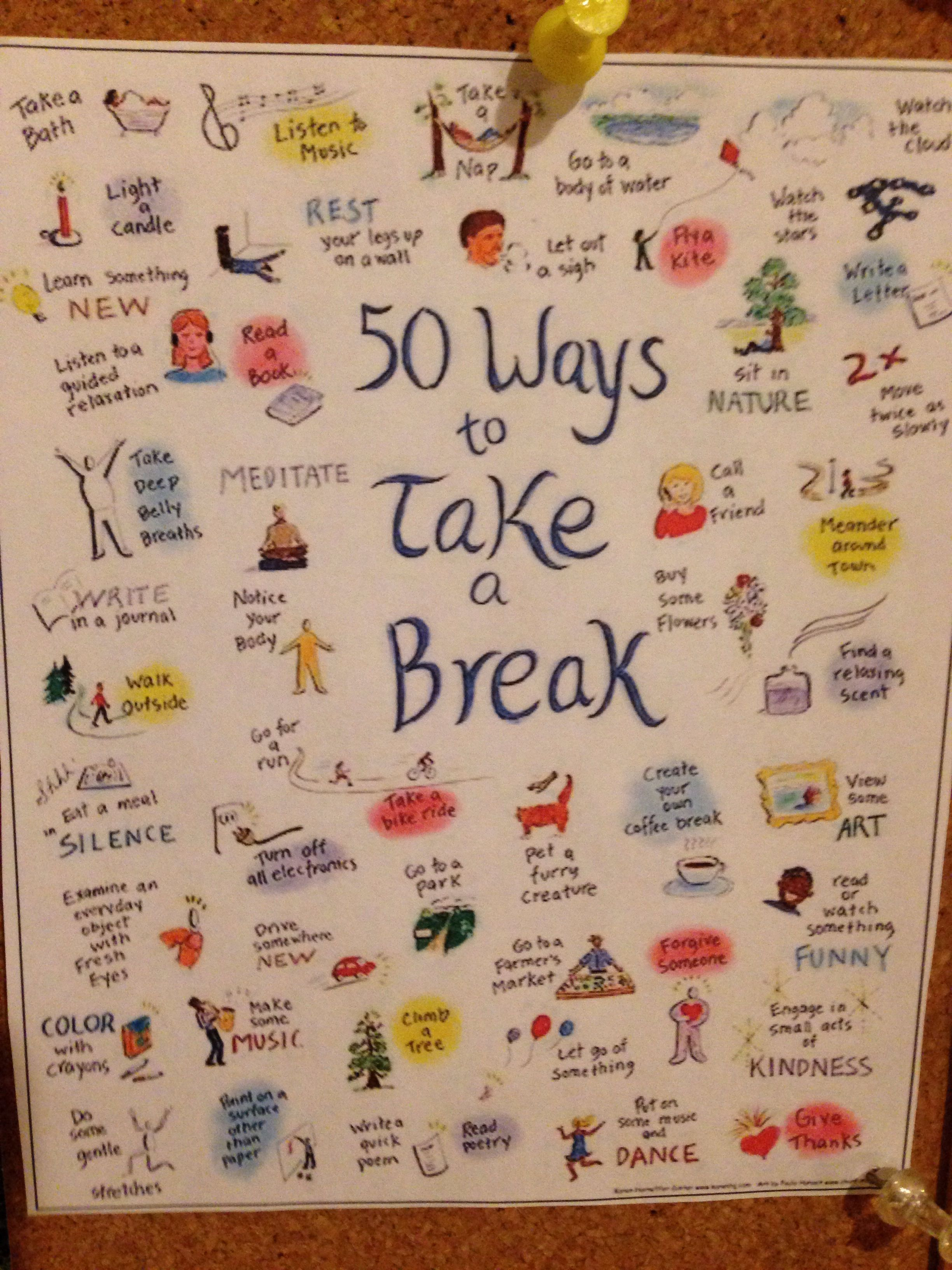 50 Ways to Take a Break | Happiness | Journal, Bullet ...