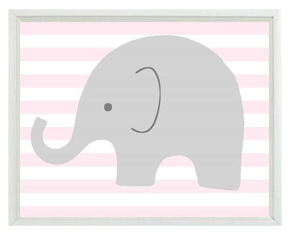 Elephant Nursery Wall Decor elephant nursery wall art print - pink gray white decor stripes