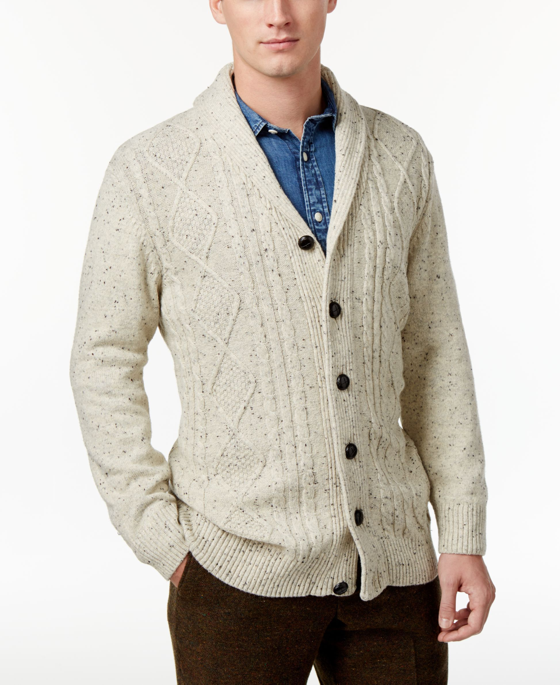 Tricots St. Raphael's classic cable-knit sweater features a shawl ...
