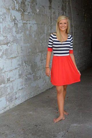 Striped Color Block Flare Dress
