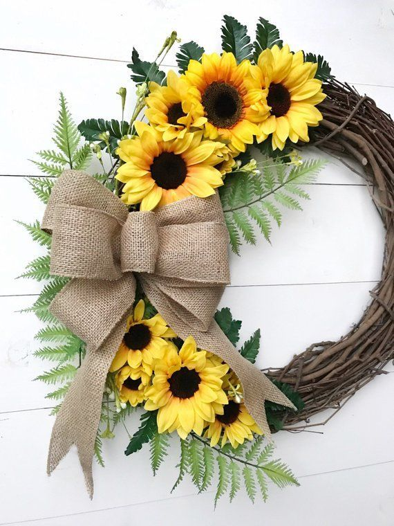 Photo of Corona di girasole con fiocco di tela   Ghirlanda di porte con girasoli   Corona per tutto l'anno   Ghirlanda di fattoria