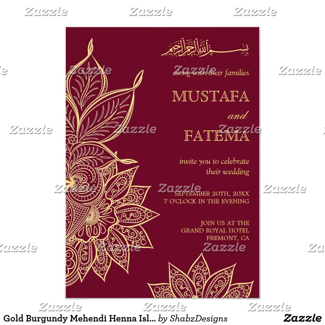 Gold Burgundy Mehendi Henna Islamic Wedding Invitation