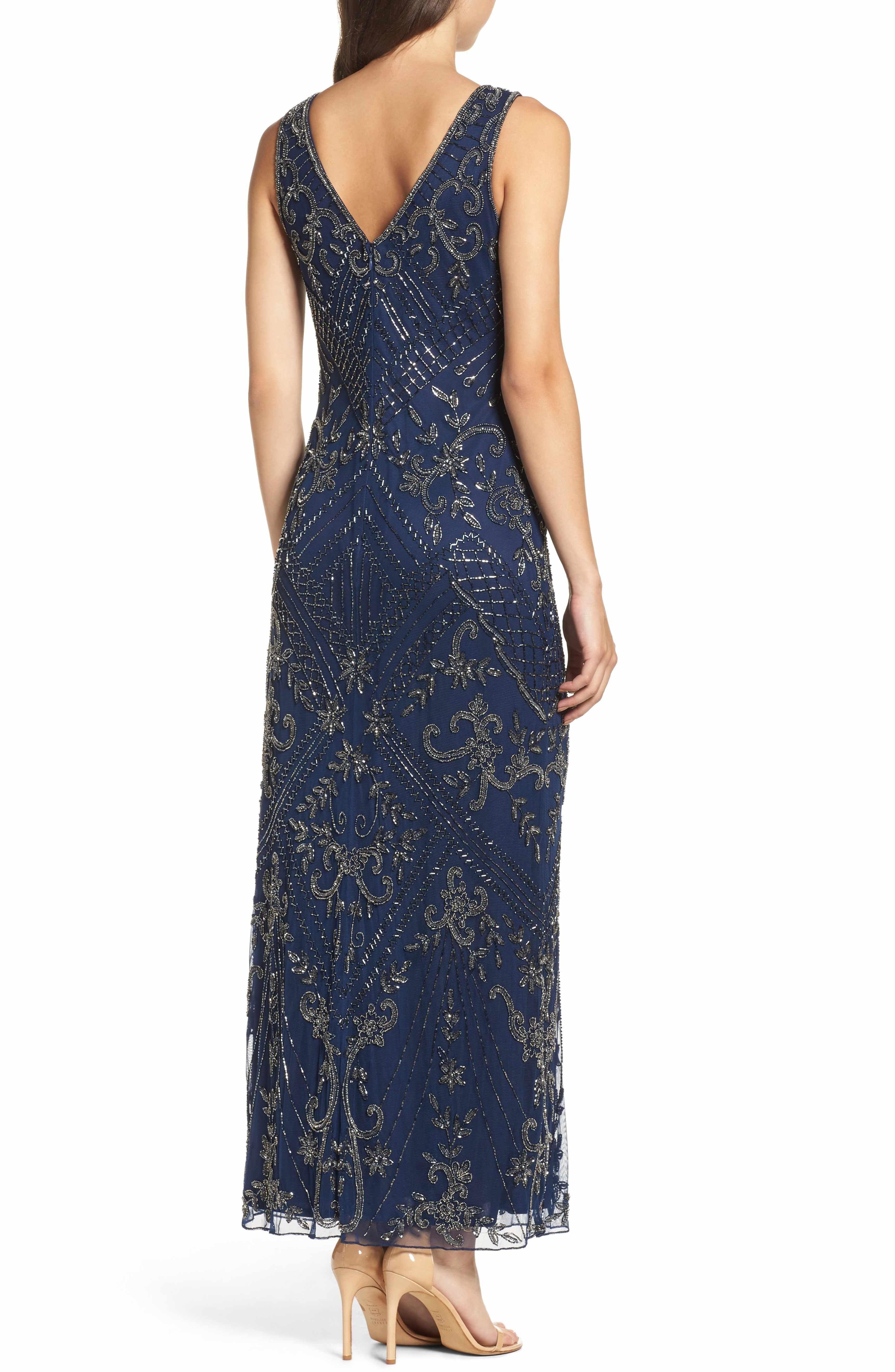 Main image pisarro nights embroidered mesh gown regular u petite