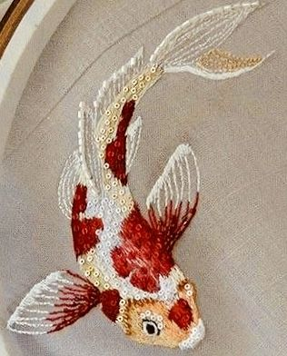 Koi Fish Embroidery : embroidery, Gorgeous, Dimensional, Embroidered, Embroidery, Craft,, Stitches, Beginner,, Stitching