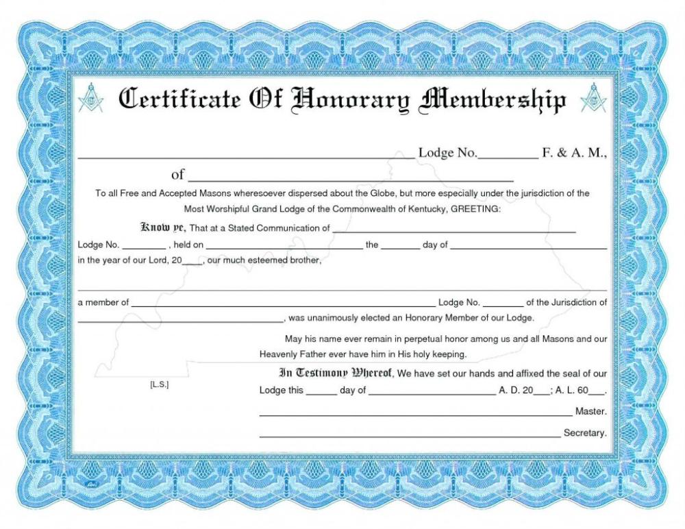 Honorary Membership Certificate Template Word In Life