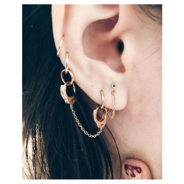 Dainty Handcuffs made with Swarovski Crystal Handcuff Tiny Stud Earrings Jewelry